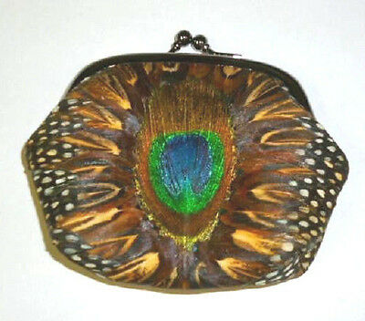 Vintage Peacock Pheasant Feather Coin Change Purse Snap Closure