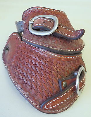 Pair of Used Leather Basket Stamped Cowboy Pass Through Style Spur Straps