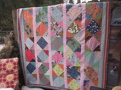 African American geometrics patriotic fabric antique quilt,by hand,twin/doubl