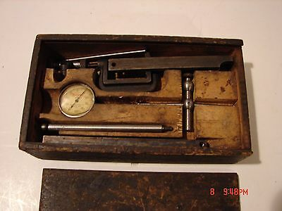Vintage Lot Machinist Drafting Tool Starrett Gauge Parts Clamp Antique Wood Box