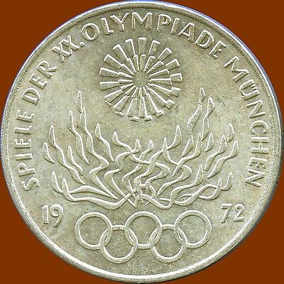 1972 'D' Germany 10 Mark Olympic Silver Coin (15.5 Grams .625 Silver)