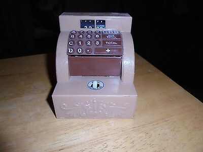 Vintage Plastic CASH REGISTER Toy Bank Hand Reaches Out & Grabs Coin! Novelty