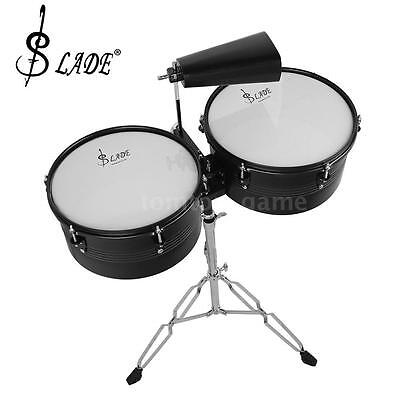 """Latin Percussion 13"""" & 14"""" Timbales Drum Set with Stand and Cowbell I9P4"""