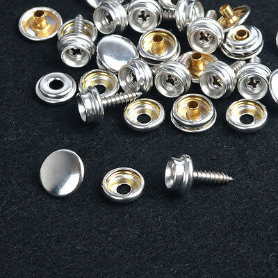 Pack 10 Sets Silver Press Studs Snap Fasteners WOOD TO FABRIC w/Screws
