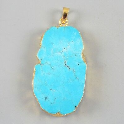 Blue Howlite Turquoise Pendant Bead Gold Plated B029932