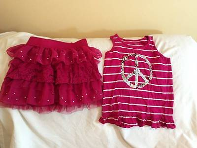 The Childrens Place Girls Size 7/8 Sparkle Top / Skirt Outfit - Trendy Style
