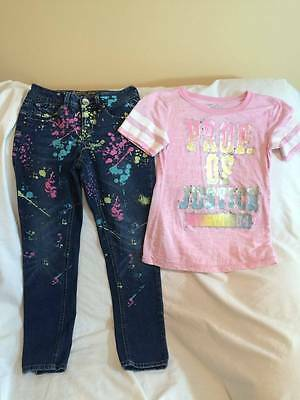 Justice Girls Size 8 Jeans / Pink Top Outfit - Trendy Style