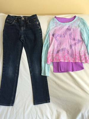 Justice Girls Size 10 Slim Jeans / Star Sparkle Shirt - Back To School Outfit