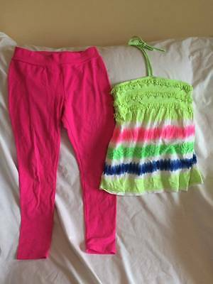 Justice Girls Size 12 Halter Style Top / Pink Leggings Outfit - Trendy Style