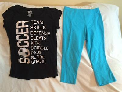 Justice Soccer Theme Girls Size 14 T-Shirt / Leggings Outfit