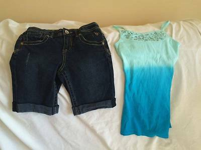 Justice Girls Size 10 Denim Shorts / Cami Tank Top Outfit - Cute Style