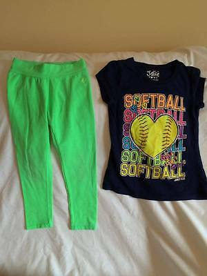 Justice Girls Size 7 Softball Theme T-Shirt / Leggings Outfit - Cute