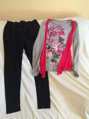 Justice Girls Size 14 / 16 Free To Be Me Theme Shirt / Leggings Outfit