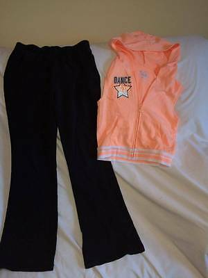 Justice Dance Theme Girls Size 12 Top / Athletic Pants Outfit - Hoodie Top