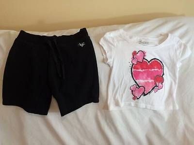 Justice Girls Size 7 / 8 Black Athletic Shorts / Heart Cropped Style Top Outfit