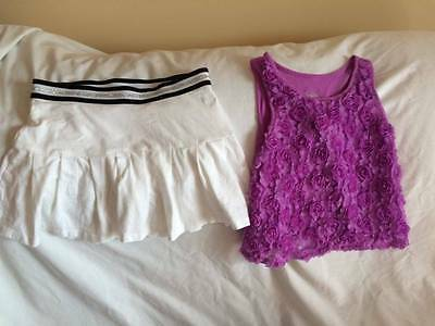 Justice Girls Size 7 / 8 Purple Top / White Skirt Outfit - Trendy Style