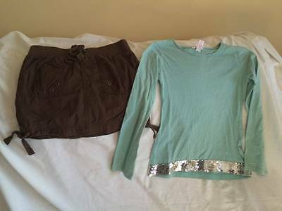 Justice / Old Navy Girls Size 10 Brown Skirt / Sparkle Top Outfit