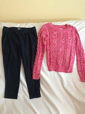 Justice Size 7 / 8 Leggings / Sparkle Sweater Outfit - Back To School Style