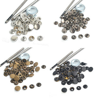 Snap Fasteners 12.5/1517mm 15 Sets Press Studs Kit Poppers Sewing Button w/Tool