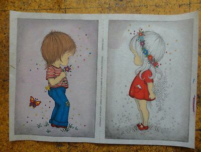 HOBBYTEX - VINTAGE BOY AND GIRL PICTURES 23cms x 32cms each picture