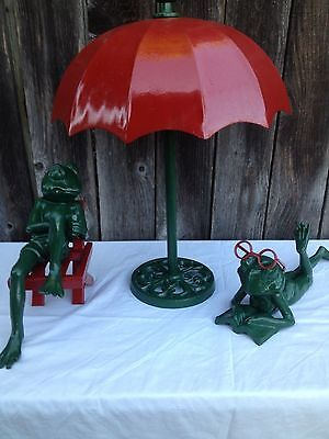 Vintage Cast Iron Frogs and umbrella