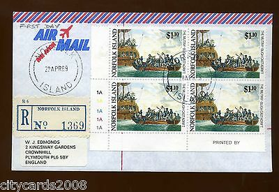 1989 Norfolk Is Mutiny  $1.10  cylinder block of 4 AIRMAIL registered FDC to UK