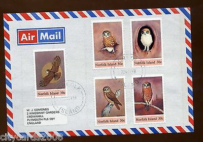 1988 Norfolk Island  Set of Owls    AIRMAIL Cover to UK