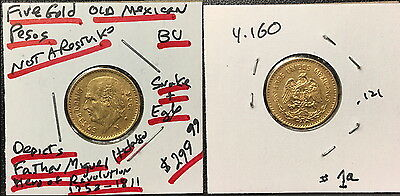 Mexico Gold 5 Pesos-HANDPICKED FOR QUALITY-1906-GEM BU best small gold coins #1a