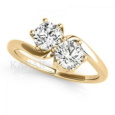 Forever US Two Stone 1.00 Ct Diamond Round Cut Ring 10k Yellow Real Gold