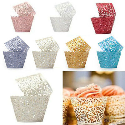 12 X Wedding Birthday Baby Shower Filigree Vine Decor Wraps Cupcake Cases Sturdy