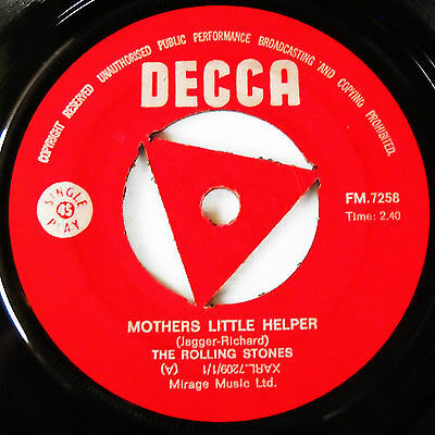 Rolling Stones-Mega Rare Rhodesia 45-Single-Mothers Little Helper / Out Of Time