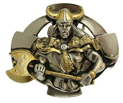 Celtic Warrior Belt Buckle With Gold Plate Detailing In a Gift Box.