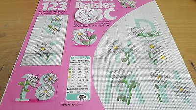 Cross Stitch Chart Daisies Alphabet & Numbers Charts Floral Letters