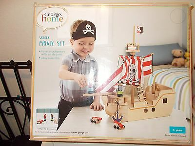Pirate Set Wooden Pirate Set - From Asda - Brand New Toy