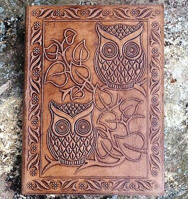 Hand Made Leather Journal Blank Diary Notebook Book Sketch Gift Pad Owl Gift