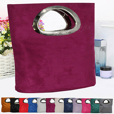 Womens Faux Suede Clutch Evening Party Holiday Fashion Handbags Tote Satchel Bag