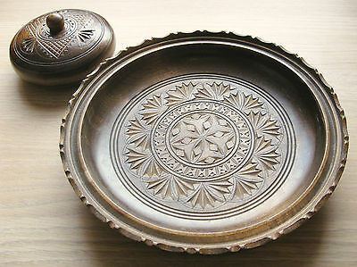 Vintage European Carved Treen  Dish and Lidded Pot Folk Art #2