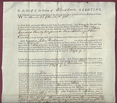 Tax Warrant, Windham County, Connecticut, Addressed to  Sheriff, 1786