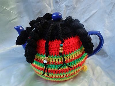 knitted Rasta tea cosy to fit 6-8 cup teapot standard to large