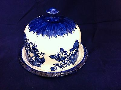Cheese dome, blue and white hand painted Victoria Ironstone Staffs ##DAC61JM