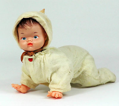Vintage Tin Vinyl Plastic Crawling Baby Doll Original Outfit Battery Not Working