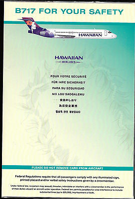 1 x HAWAIIAN AIRLINES B717 SAFETY CARD *1/12*