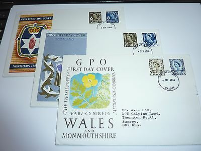 3 x Regional Definitive Issue 1968 FDC's