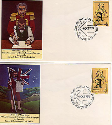 AUSTRALIA FDC-1974 INDEPENDENT NEWSPAPERS 150th ANNIVERSARY-2 COVERS