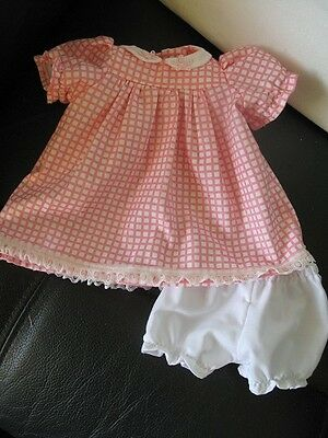 dolls dress and knickers fit sasha dolls 16in or similar pink squares design