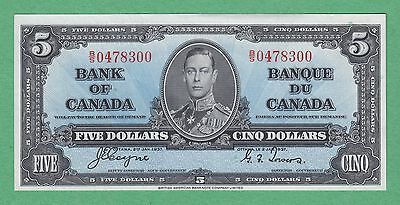 1937 Bank of Canada 5 Dollar Note - Coyne/Towers - B/S0478300 - UNC