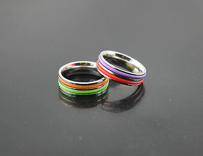 Free P*P Wholesale Lots 10pcs Colorful Rubber stainless steel Rings
