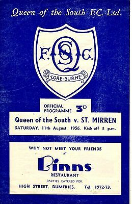 Queen of the South v St Mirren Scottish League Cup 11th August 1956