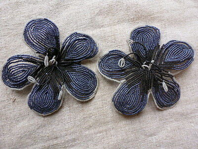 Antique French Glass Bead Flowers