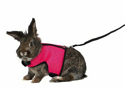 New Trixie Large Rabbit Soft Mesh Harness & Lead Set Pink / Blue 61514